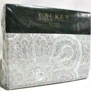 RALPH LAUREN PAISLEY BLUE TAUPE QUEEN SHEET SET